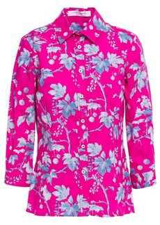 Carolina Herrera Woman + Rose Cumming Printed Stretch-cotton Poplin Shirt Fuchsia