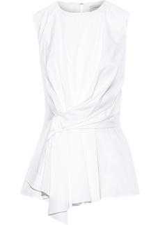 Carolina Herrera Woman Asymmetric Knotted Stretch-cotton Poplin Top White