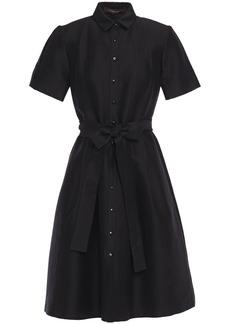 Carolina Herrera Woman Belted Cotton And Silk-blend Twill Shirt Dress Black