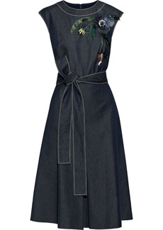 Carolina Herrera Woman Belted Floral-appliquéd Embroidered Denim Dress Dark Denim