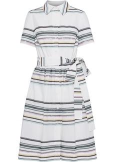 Carolina Herrera Woman Belted Metallic Jacquard Shirt Dress White