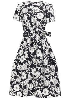Carolina Herrera Woman Belted Printed Cotton-blend Ottoman Dress Black