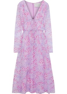 Carolina Herrera Woman Bow-detailed Printed Silk-georgette Midi Dress Lilac