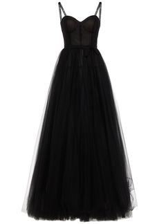 Carolina Herrera Woman Bow-embellished Gathered Tulle Gown Black