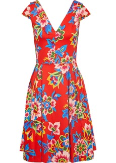 Carolina Herrera Woman Bow-embellished Pleated Floral-print Cotton-blend Dress Red