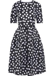 Carolina Herrera Woman Bow-embellished Pleated Polka-dot Silk-gazar Dress Black