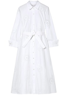 Carolina Herrera Woman Broderie Anglaise Cotton Shirt Dress White