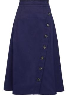 Carolina Herrera Woman Button-detailed Cotton-blend Skirt Midnight Blue