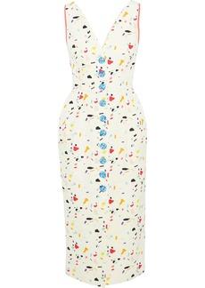 Carolina Herrera Woman Button-detailed Printed Cotton-blend Midi Dress Cream