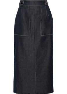Carolina Herrera Woman Button-embellished Denim Midi Pencil Skirt Dark Denim