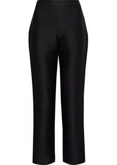 Carolina Herrera Woman Cotton And Silk-blend Twill Straight-leg Pants Black