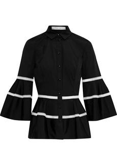 Carolina Herrera Woman Crochet-trimmed Cotton-blend Poplin Peplum Shirt Black