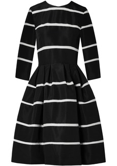 Carolina Herrera Woman Crochet-trimmed Pleated Silk-faille Dress Black