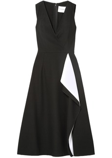 Carolina Herrera Woman Draped Crepe Midi Dress Black