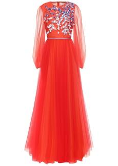 Carolina Herrera Woman Embellished Gathered Tulle Gown Papaya