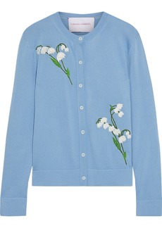 Carolina Herrera Woman Embroidered Cashmere And Silk-blend Cardigan Light Blue