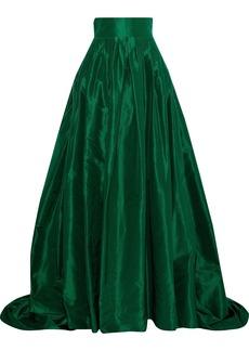 Carolina Herrera Woman Flared Pleated Silk-taffeta Maxi Skirt Emerald
