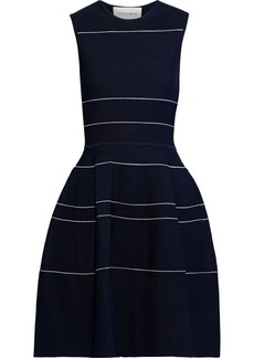 Carolina Herrera Woman Flared Textured Stretch-knit Dress Navy