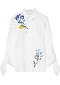 Carolina Herrera Woman Floral-appliquéd Cotton-blend Poplin Shirt White