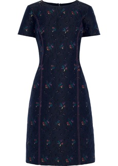 Carolina Herrera Woman Floral-jacquard Dress Navy