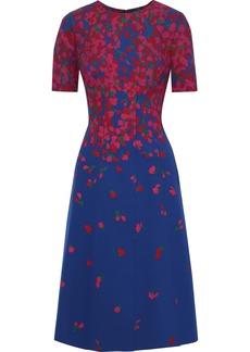 Carolina Herrera Woman Floral-print Neoprene Dress Cobalt Blue