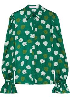 Carolina Herrera Woman Floral-print Satin-jacquard Shirt Forest Green