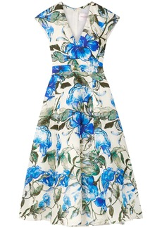 Carolina Herrera Woman Floral-print Silk Crepe De Chine Midi Dress Ivory
