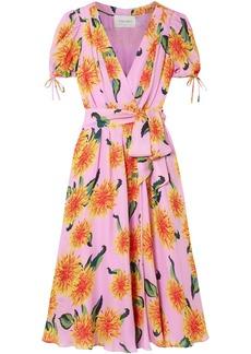 Carolina Herrera Woman Floral-print Silk Crepe De Chine Midi Wrap Dress Bubblegum
