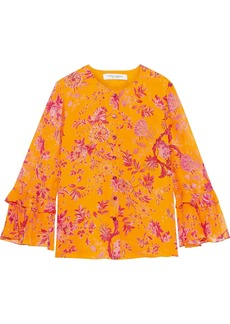 Carolina Herrera Woman Floral-print Silk-georgette Blouse Orange