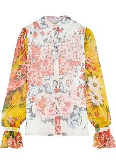 Carolina Herrera Woman Floral-print Silk-georgette Shirt Ivory