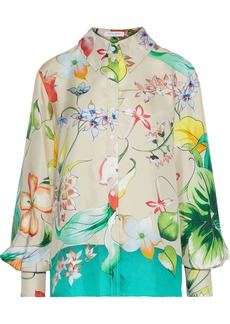 Carolina Herrera Woman Floral-print Silk-satin Twill Shirt Neutral