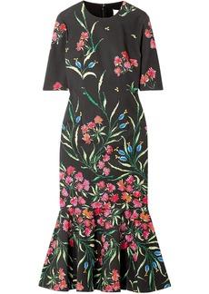 Carolina Herrera Woman Fluted Floral-print Cotton-blend Midi Dress Black