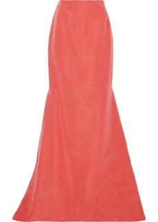 Carolina Herrera Woman Fluted Silk-faille Maxi Skirt Coral