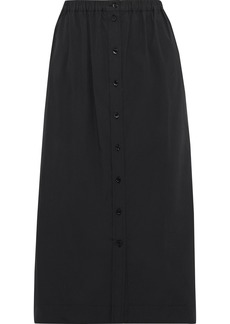 Carolina Herrera Woman Gathered Cotton-blend Poplin Midi Skirt Black