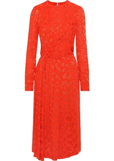 Carolina Herrera Woman Knotted Fil Coupé Georgette Midi Dress Tomato Red