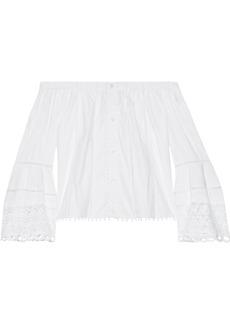 Carolina Herrera Woman Off-the-shoulder Guipure Lace-paneled Cotton-blend Poplin Top White