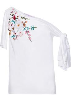 Carolina Herrera Woman Off-the-shoulder Knotted Floral-appliquéd Cotton-poplin Top White