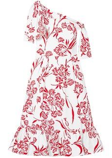 Carolina Herrera Woman Off-the-shoulder Printed Stretch-cotton Poplin Midi Dress White