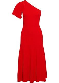 Carolina Herrera Woman One-shoulder Ribbed-knit Midi Dress Tomato Red