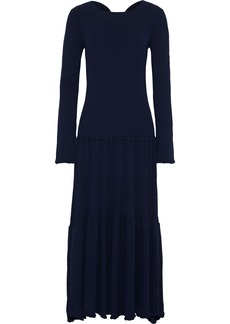 Carolina Herrera Woman Open-back Tiered Ribbed-knit Maxi Dress Midnight Blue