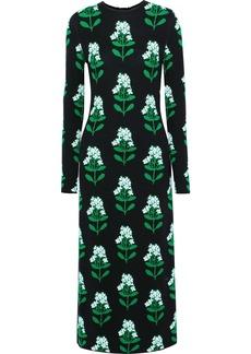 Carolina Herrera Woman Open-back Wool-blend Floral-jacquard Midi Dress Black