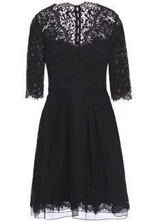 Carolina Herrera Woman Pleated Cotton-blend Lace Dress Black