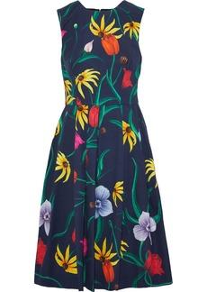 Carolina Herrera Woman Pleated Floral-print Cotton-blend Faille Dress Navy