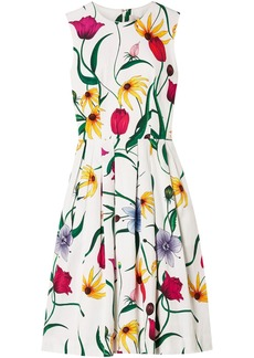 Carolina Herrera Woman Pleated Floral-print Cotton-blend Faille Dress White