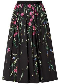 Carolina Herrera Woman Pleated Floral-print Cotton-blend Faille Midi Skirt Black