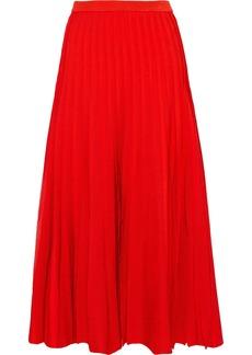 Carolina Herrera Woman Pleated Stretch-knit Midi Skirt Red