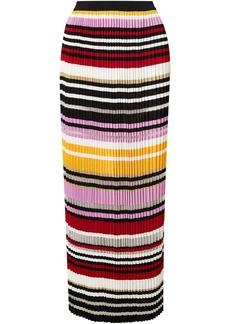 Carolina Herrera Woman Pleated Striped Knitted Maxi Skirt Multicolor