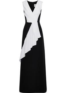 Carolina Herrera Woman Pleated Two-tone Silk-crepe Gown Black