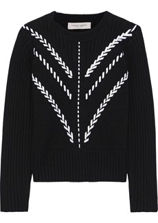 Carolina Herrera Woman Pointelle-trimmed Whipstitched Cashmere Sweater Black