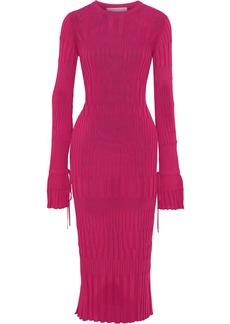 Carolina Herrera Woman Ribbed-knit Midi Dress Fuchsia
